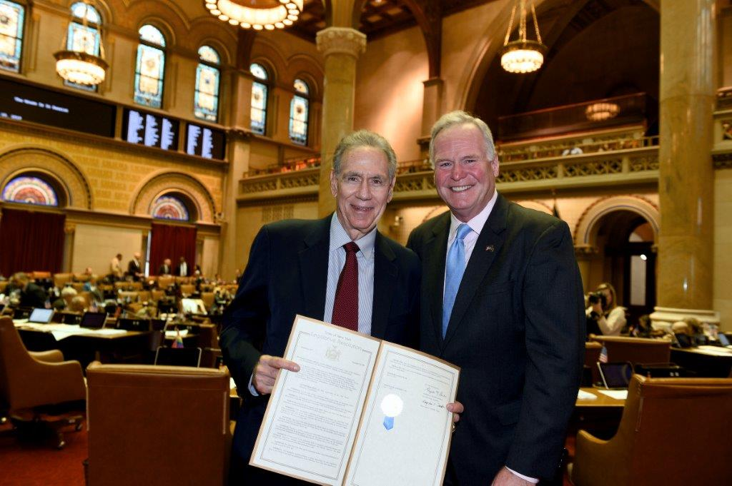 Assemblyman Michael Fitzpatrick (R,C,I,Ref-Smithtown) welcomes Art Shamsky, a member of the 1969