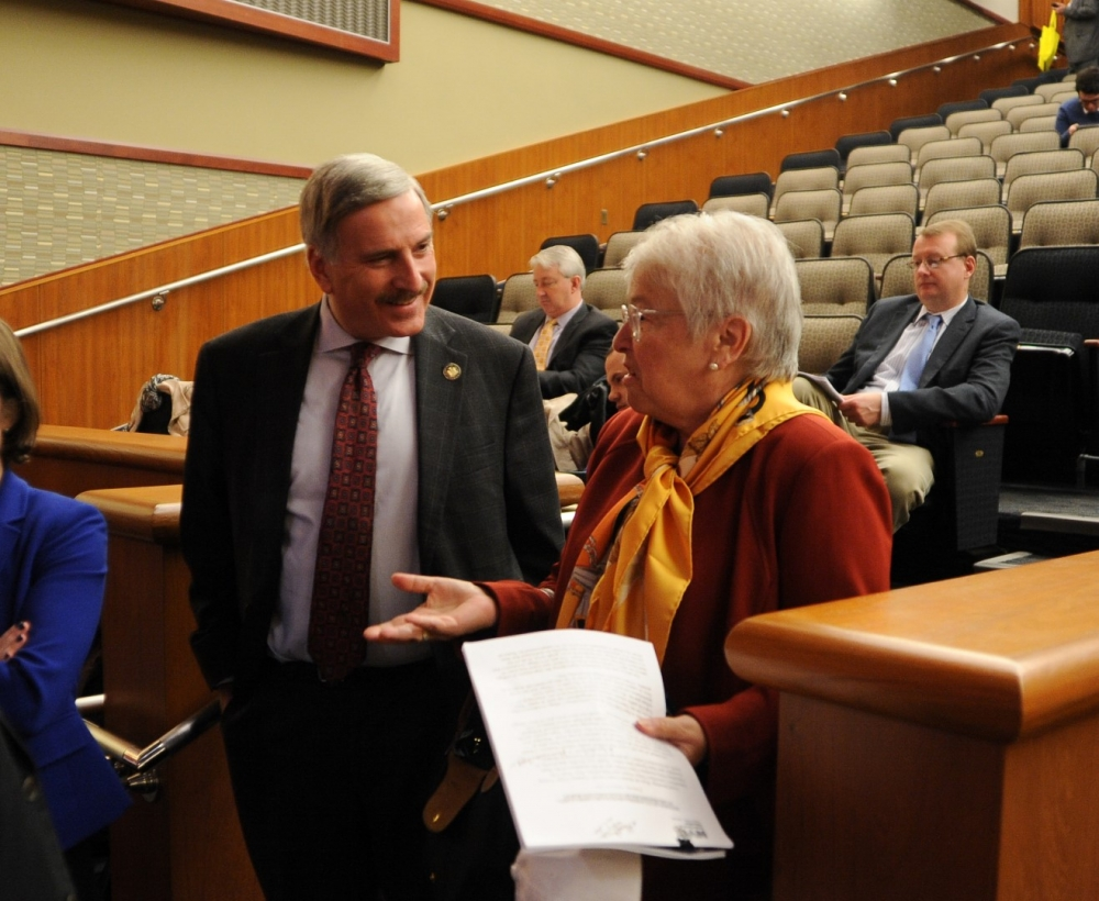 Assemblyman David Weprin speaks with New York City Schools Chancellor Carmen Fari�a in Albany following the Joint Legislative Budget Hearing on Elementary and Secondary Education.