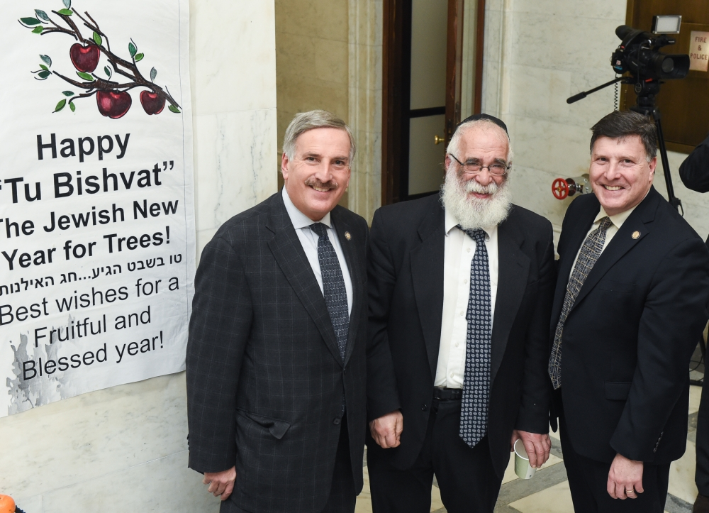 Assemblyman David Weprin joins his brother, Deputy Secretary of Legislative Affairs Mark Weprin, and Rabbi Israel Rubin, Chabad director of the Capital Region to celebrate Tu Bishvat� - The Jewish New