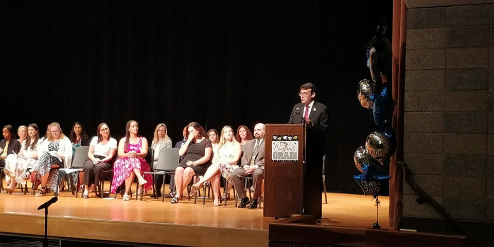 Assemblymember Rosenthal delivers keynote speech at PS 164's graduation.