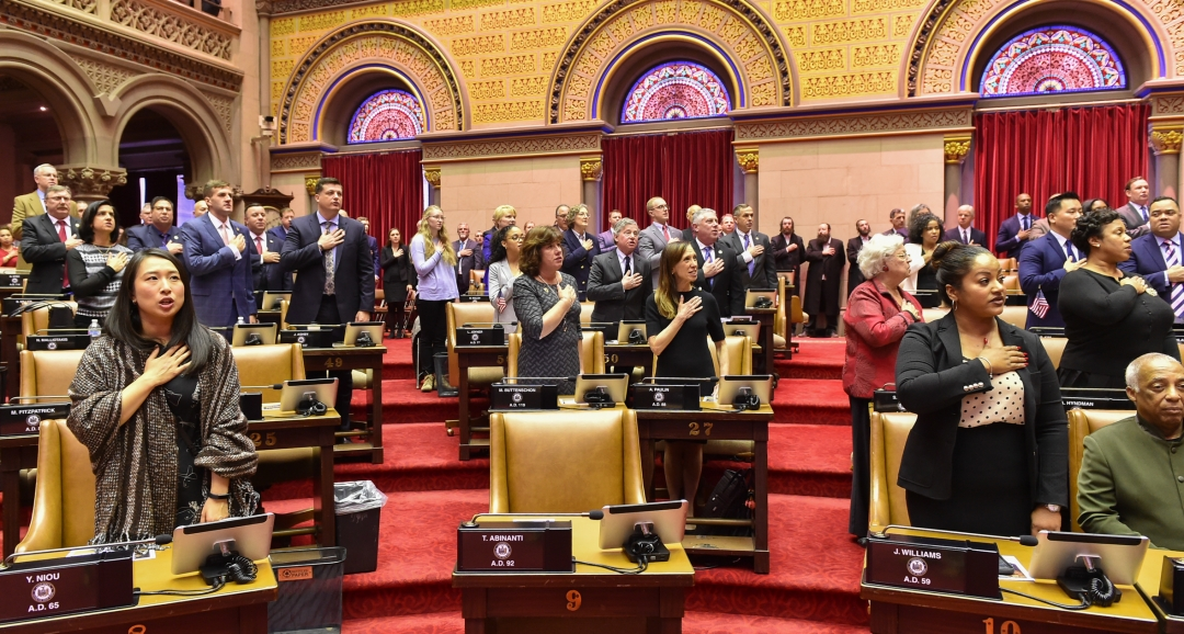 Assemblywoman Buttenschon, along with other members, saying the Pledge of Allegiance to start off the first day of the 2019 Legislative Session.