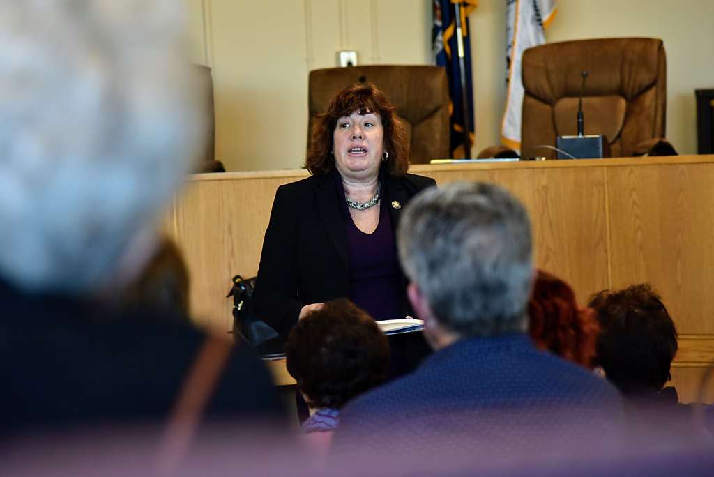 Assemblywoman Buttenschon speaking with constituents at the Rome Town Hall.