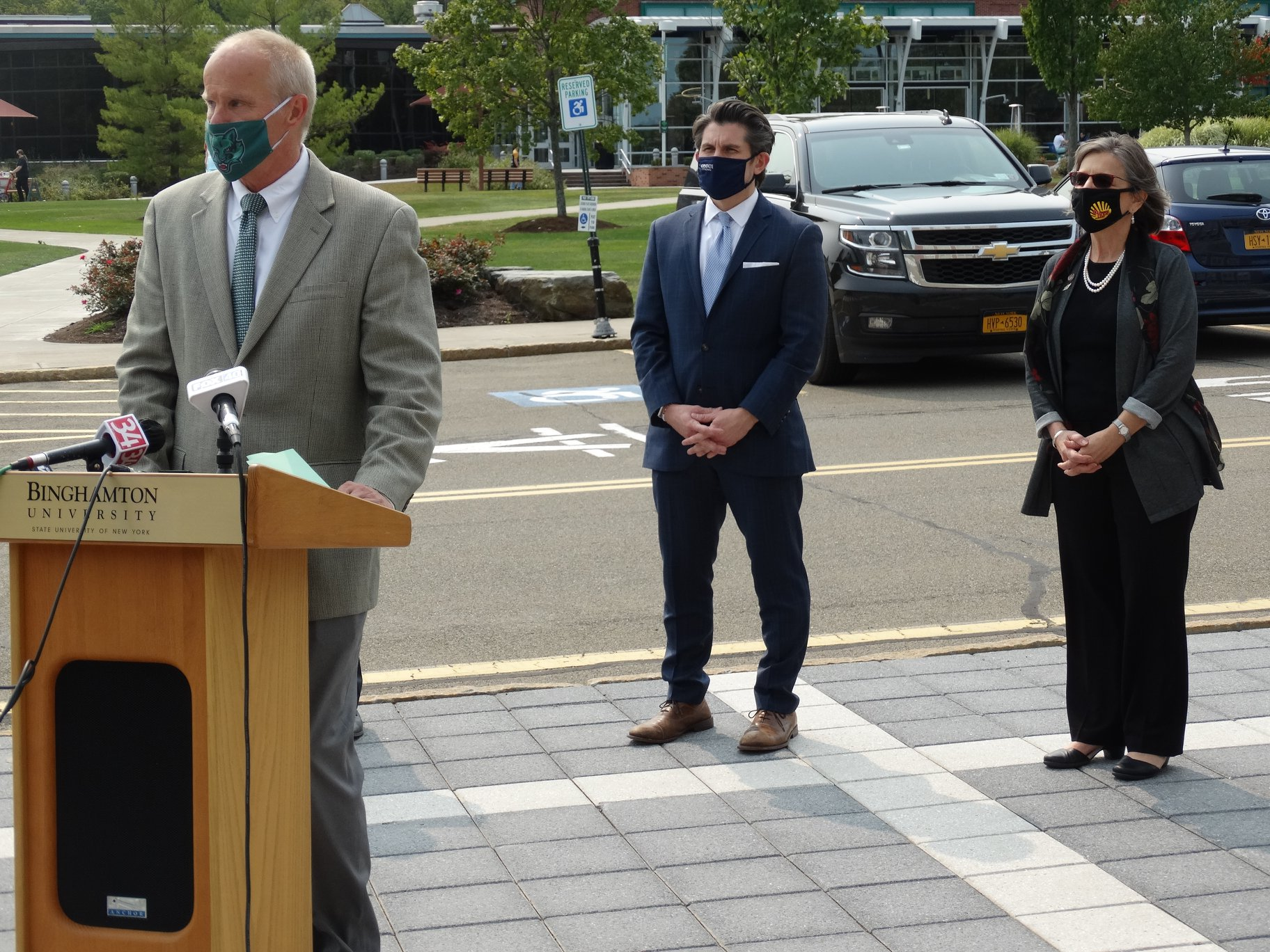September 16, 2020 – Binghamton University President speaks as he and Assemblywoman Lupardo welcome SUNY Chancellor Jim Malatras to campus.