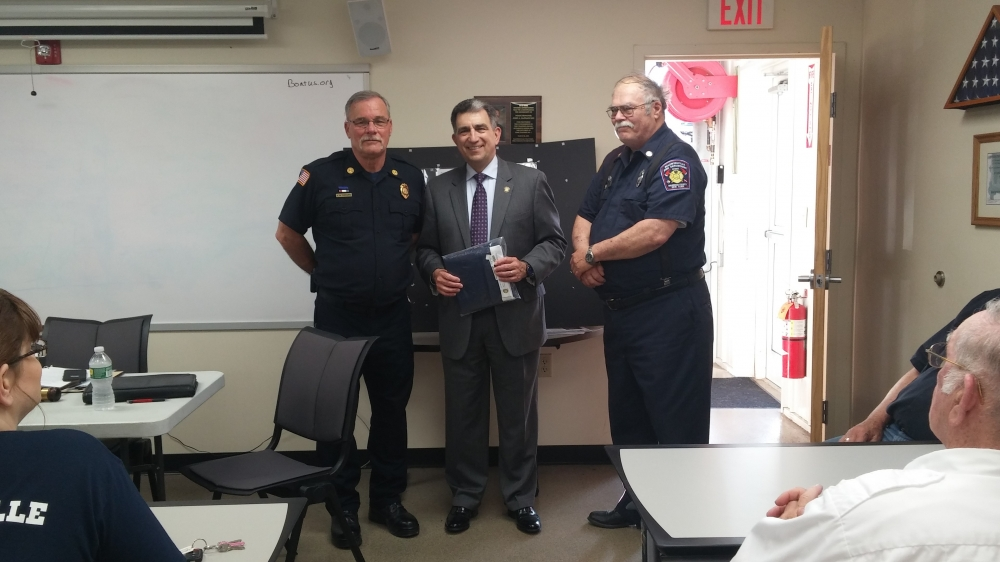 Members of the Baldwinsville Volunteer Fire Company welcomed Assemblyman Magnarelli to their business meeting. In appreciation for their protection and service to the community, Assemblyman Magnarelli