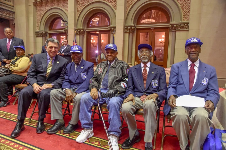 Assemblyman Magnarelli was able to meet with several members of the Tuskegee airmen, the first African-American military aviators in the United States Armed Forces during World War II.