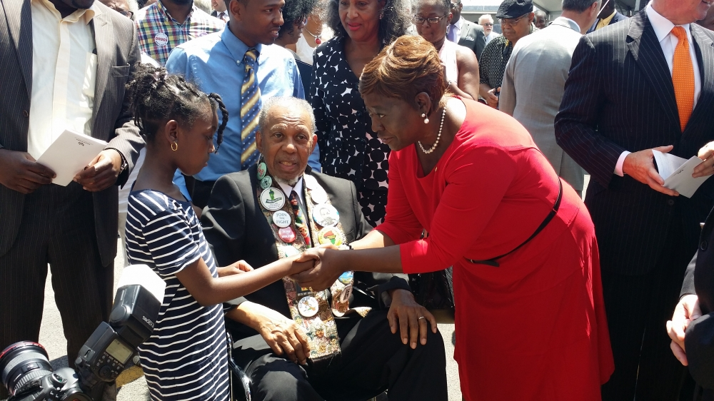Assemblywoman Peoples-Stokes at the Arthur O. Eve Educational Opportunity Center; the $26 million project was completed and focuses on helping students accomplish their goals through higher education.