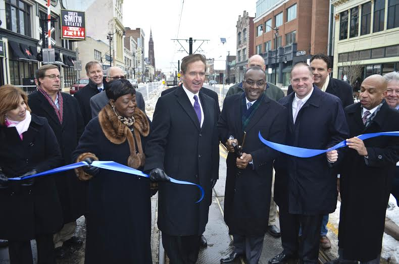 Assemblywoman Crystal Peoples-Stokes at the historic return of vehicles to Main Street�s 600 Block in the heart of the Queen City.